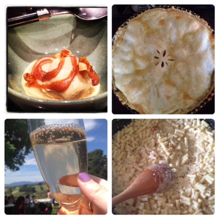 Homemade Caramel Ice Cream, Homemade Apple Pie, Sipping sparking in the Yarra Valley, making Neil Perry's Mac and Cheese.