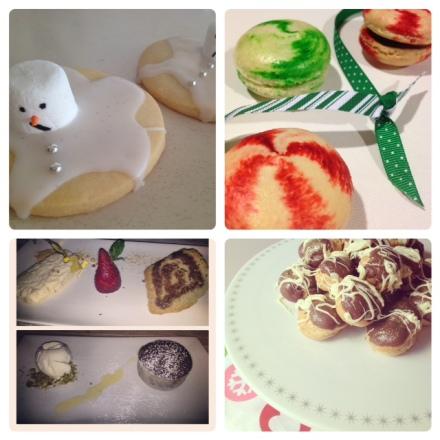 Melted Snowmen Shortbread, Candy Cane Macarons, Dessert @ Malvern Hotel, Salted Caramel Profiteroles.